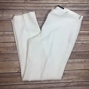Elie Tahari White Pants Slim Flat Front lined